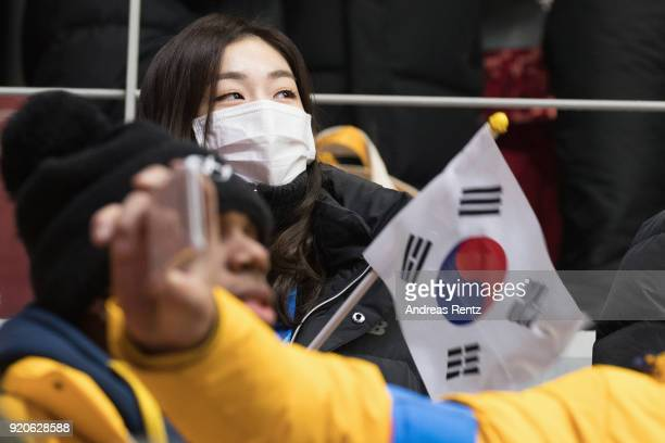 Yuna Kim attends the Men's 2Man Bobsleigh on day 10 of the PyeongChang 2018 Winter Olympic Games at Olympic Sliding Centre on February 19 2018 in...