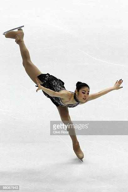 YuNa Kim of Korea competes in the Ladies Short Program during the 2010 ISU World Figure Skating Championships on March 26 2010 at the Palevela in...