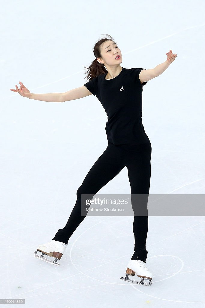 Yuna Kim of South Korea has a training session on day 11 of the Sochi 2014 Winter Olympics at Iceberg Skating Palace on February 18, 2014 in Sochi, Russia.