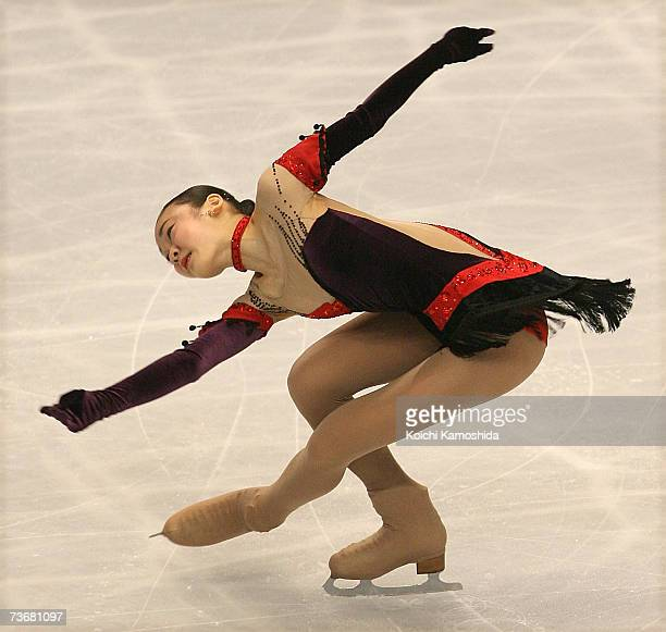YuNa Kim of South Korea performs during the women's short program at the World Figure Skating Championships at the Tokyo Gymnasium on March 23 2007...