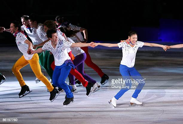 Yuna Kim of South Korea performs with other skaters during Festa on Ice 2009 at KINTEX on April 24 2009 in Goyang South Korea