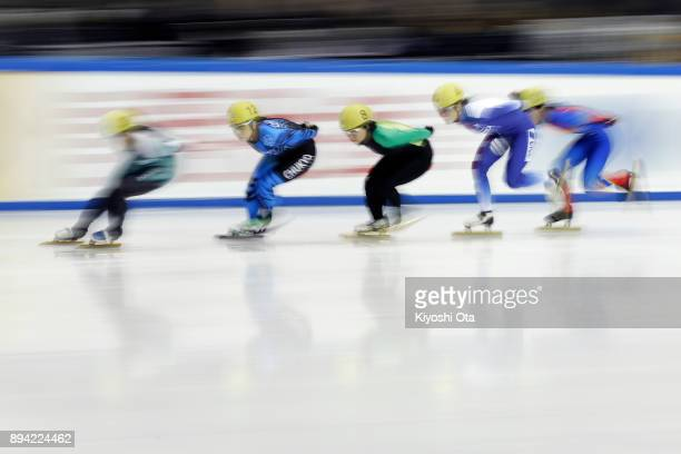 Yuna Koike competes in the Ladies' 1000m Heat during day two of the 40th All Japan Short Track Speed Skating Championships at Nippon Gaishi Arena on...