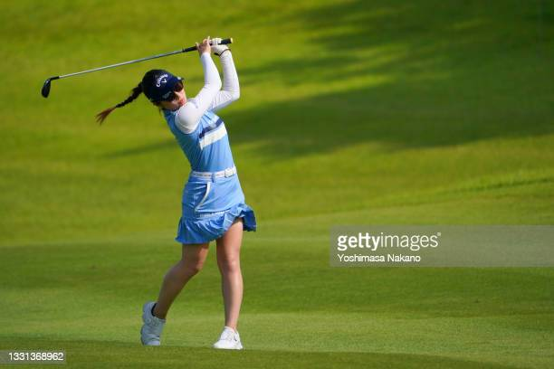Yuna Nishimura of Japan hits her second shot on the 14th hole during the second round of Rakuten Super Ladies at Tokyu Grand Oak Golf Club on July...