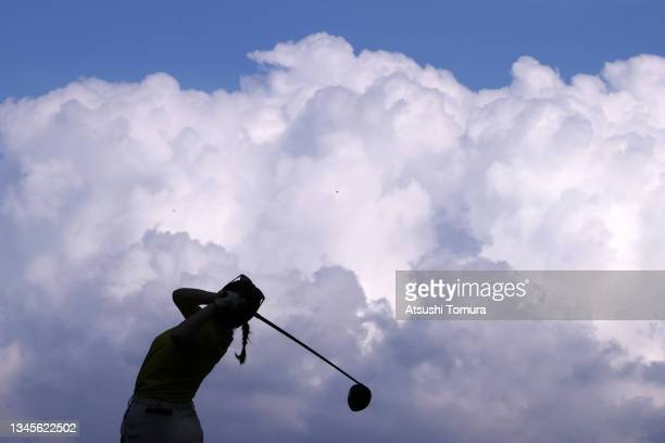 Yuna Nishimura of Japan hits her tee shot on the 15th hole during the second round of the Stanley Ladies at Tomei Country Club on October 9, 2021 in...