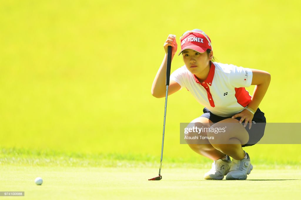 Yuna Nishimura of Japan lines up her putt on the 2nd hole during the third round of the Toyota Junior Golf World Cup at Chukyo Golf Club on June 14, 2018 in Toyota, Aichi, Japan.