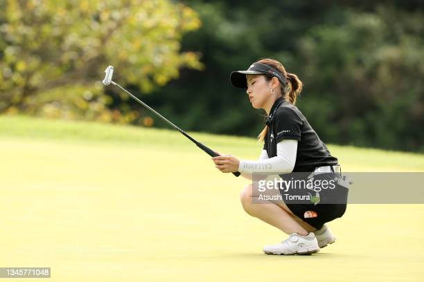 Yuna Nishimura of Japan shows dejection after missing the birdie putt on the 13th green during the final round of the Stanley Ladies at Tomei Country...