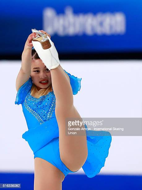 Yuna Shiraiwa from Japan skates during the Ladie's short program of the ISU World Junior Figure Skating Championships 2016 at The Fonix Arenaon March...