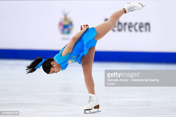 Yuna Shiraiwa from Japan skates during the Ladie's short program of the ISU World Junior Figure Skating Championships 2016 at The Fonix Arenaon March...