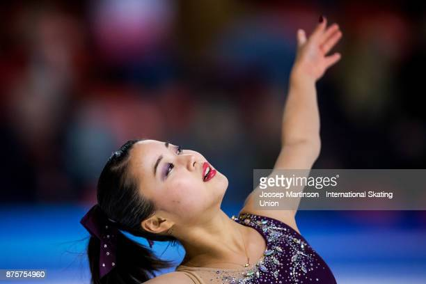 Yuna Shiraiwa of Japan competes in the Ladies Free Skating during day two of the ISU Grand Prix of Figure Skating at Polesud Ice Skating Rink on...