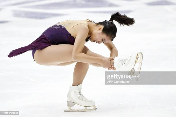 Yuna Shiraiwa of Japan competes in the ladies' free skating event on October 8, 2017 at the ISU figure skating Finlandia Trophy competition at the...