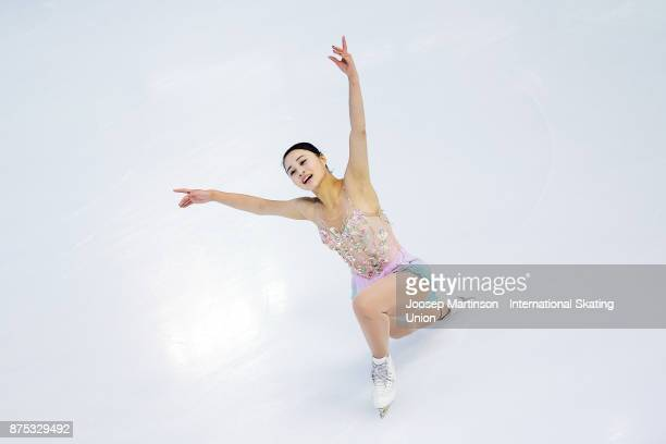 Yuna Shiraiwa of Japan competes in the Ladies Short Program during day one of the ISU Grand Prix of Figure Skating at Polesud Ice Skating Rink on...