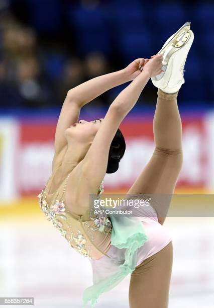 Yuna Shiraiwa of Japan competes in the ladies short program on October 6, 2017 during the ISU figure skating Finlandia Trophy competition at the...