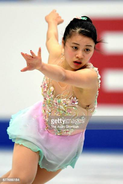 Yuna Shiraiwa of Japan in action during a practice session ahead of the Ladies Singles Short Program during day one of the ISU Grand Prix of Figure...