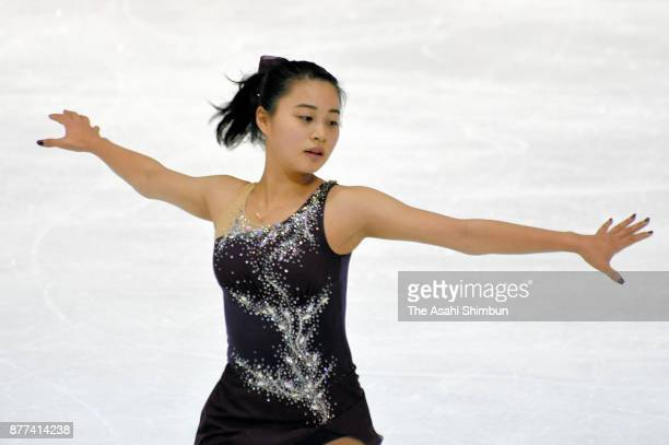 Yuna Shiraiwa of Japan in action during a practice session during day two of the ISU Grand Prix of Figure Skating Internationaux de France at Polesud...