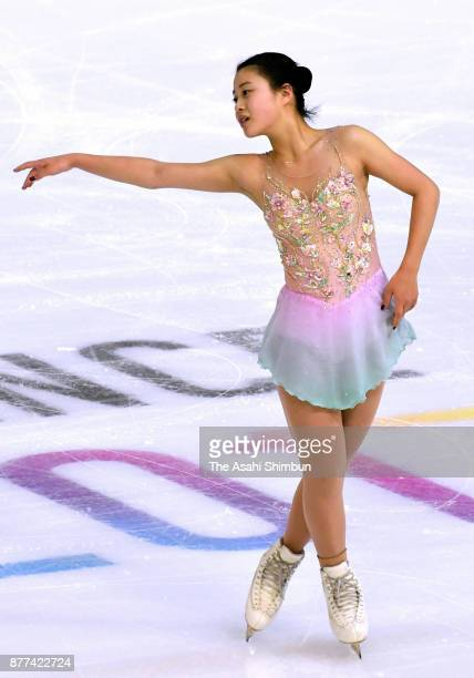 Yuna Shiraiwa of Japan in action during a practice session during day one of the ISU Grand Prix of Figure Skating Internationaux de France at Polesud...