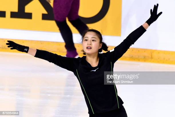 Yuna Shiraiwa of Japan in action during a training session ahead of the ISU Grand Prix of Figure Skating Internationaux de France at Patinoire...