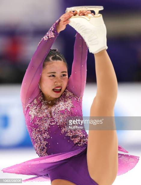 Yuna Shiraiwa of Japan performs in the ladies free skating during the ISU Grand Prix of Figure Skating Rostelecom Cup in Moscow Russia on 18 November...