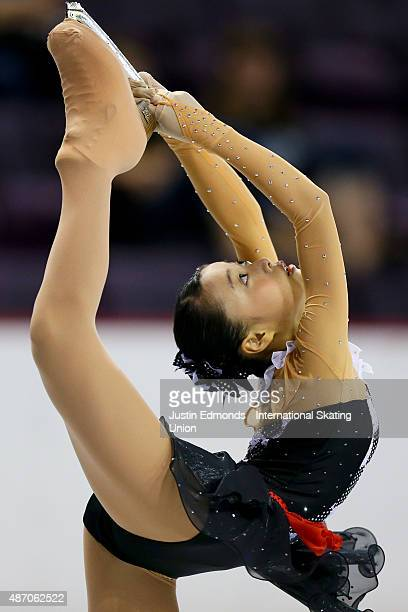 Yuna Shiraiwa of Japan skates during the junior ladies free skate at World Arena on September 5 2015 in Colorado Springs Colorado