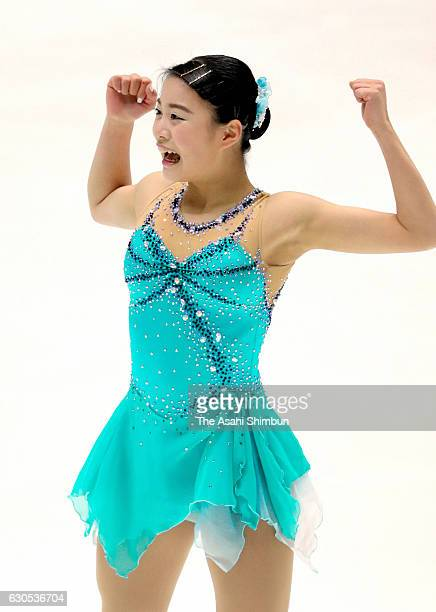 Yuna Shiraiwa reacts after competing in the Women's Singles Free Skating during day four of the 85th All Japan Figure Skating Championships at Towa...