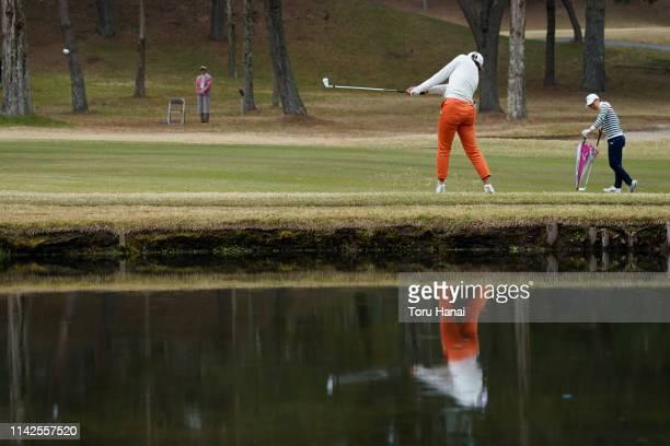 Yuna Takagi of Japan hits a shot on the 18th hole during the final round of the Hanasaka Ladies Yanmar Golf Tournament at Biwako Country Club on...