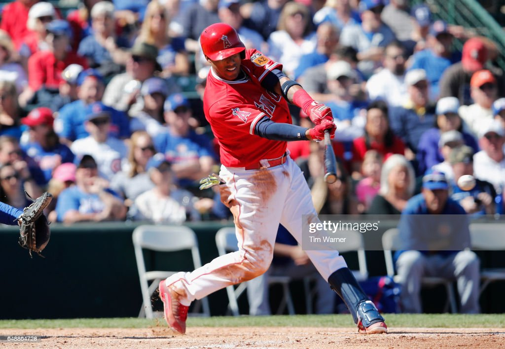 Yunel Escobar #0 grounds out in the second inning against the Chicago Cubs during the spring training game at Tempe Diablo Stadium on March 6, 2017 in Tempe, Arizona.