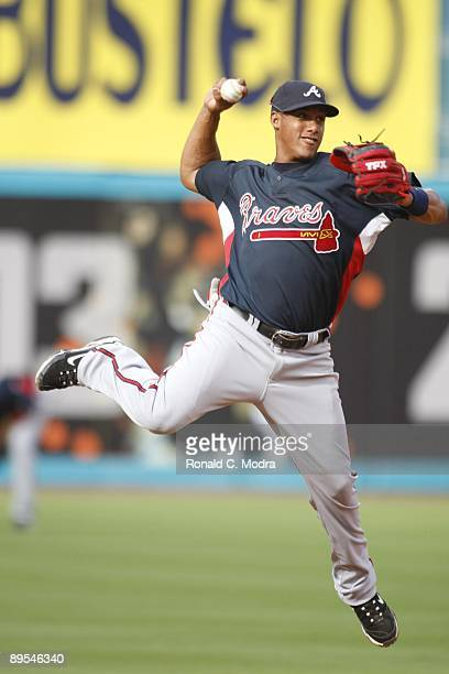 Yunel Escobar of the Atlanta Braves during batting practice before a MLB game against the Florida Marlins on July 28 2009 at Land Shark Stadium in...
