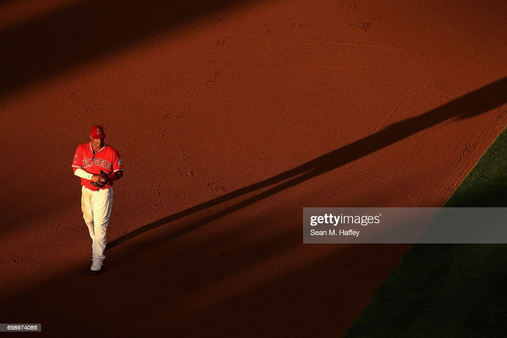 Yunel Escobar #0 of the Los Angeles Angels of Anaheim looks on during a game against the Kansas City Royals at Angel Stadium of Anaheim on June 15, 2017 in Anaheim, California.