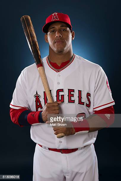 Yunel Escobar of the Los Angeles Angels of Anaheim poses for a portrait during photo day at spring training on February 26 2016 at Tempe Diablo...