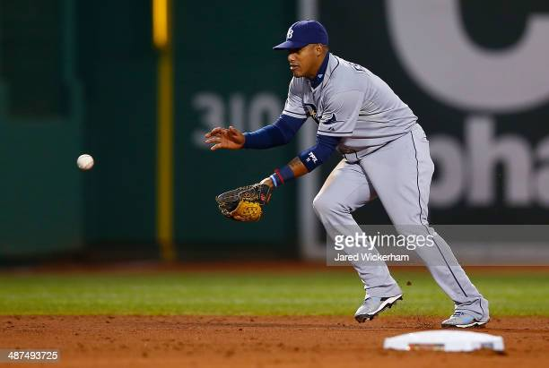 Yunel Escobar of the Tampa Bay Rays plays against the Boston Red Sox during the game at Fenway Park on April 29 2014 in Boston Massachusetts