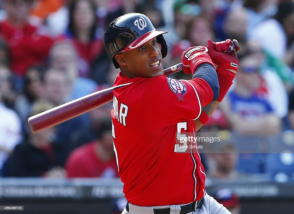 Yunel Escobar #5 of the Washington Nationals hits a double in the 10th inning against the Philadelphia Phillies during a game at Citizens Bank Park on April 12, 2015 in Philadelphia, Pennsylvania.