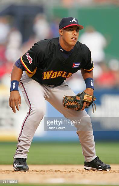 Yunel Escobar of the World Team fields his position against the U.S.A. Team during the XM Satellite Radio All-Star Futures Game at PNC Park on July...
