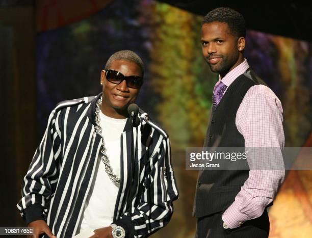 Yung Joc and AJ Calloway presenters during 21st Annual Soul Train Music Awards Show at Pasadena Civic Center in Pasadena California United States