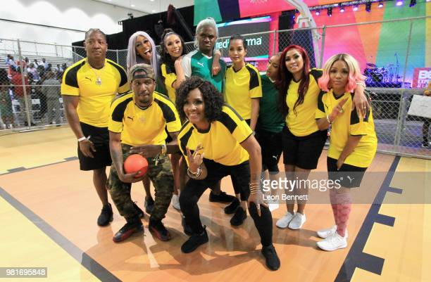 Yung Joc Jay'La Milan Erica Mena BlameitonKway Momma Dee Estelita Quintero Karlie Redd and Rasheeda attend the Celebrity Dodgeball Game at 2018 BET...