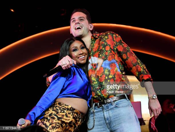 Yung Miami and GEazy perform at the 7th Annual BET Experience at LA Live Presented by CocaCola at Staples Center on June 22 2019 in Los Angeles...