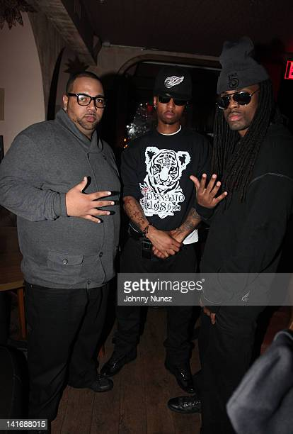 Yung Stat, Fo Sho and Adolane of The 5 attend the 5 listening party at Tillman's on March 21, 2012 in New York City.