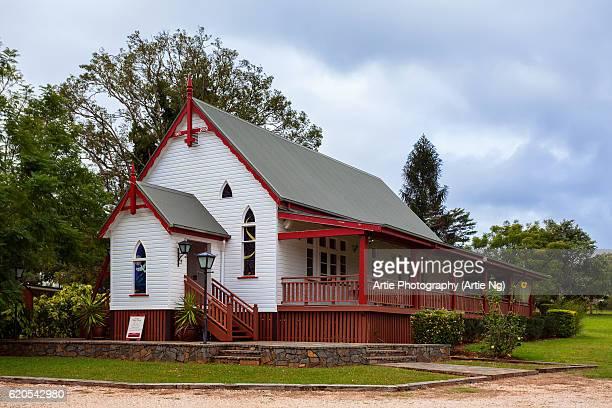 yungaburra village chapel, atherton tableland, far north queensland, australia - atherton tableland stock pictures, royalty-free photos & images