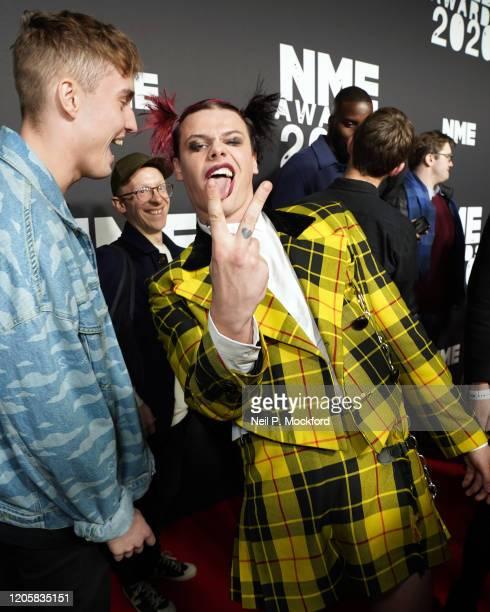 Yungblud and Sam Fender attend the NME Awards 2020 at O2 Academy Brixton on February 12 2020 in London England