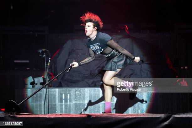 Yungblud performs on stage at Glasgow Green on September 09, 2021 in Glasgow, Scotland.