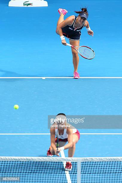 YungJan Chan of Chinese Taipei and Jie Zheng of China in action in their final doubles match against Bethanie MattekSands of the United States and...
