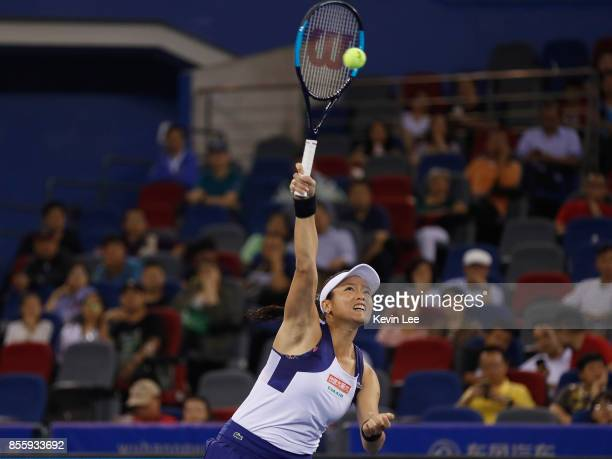 YungJan Chan of Chinese Taipei in action in the Women's Final Match between YungJan Chan of Chinese Taipei and Martina Hingis of Switzerland and...