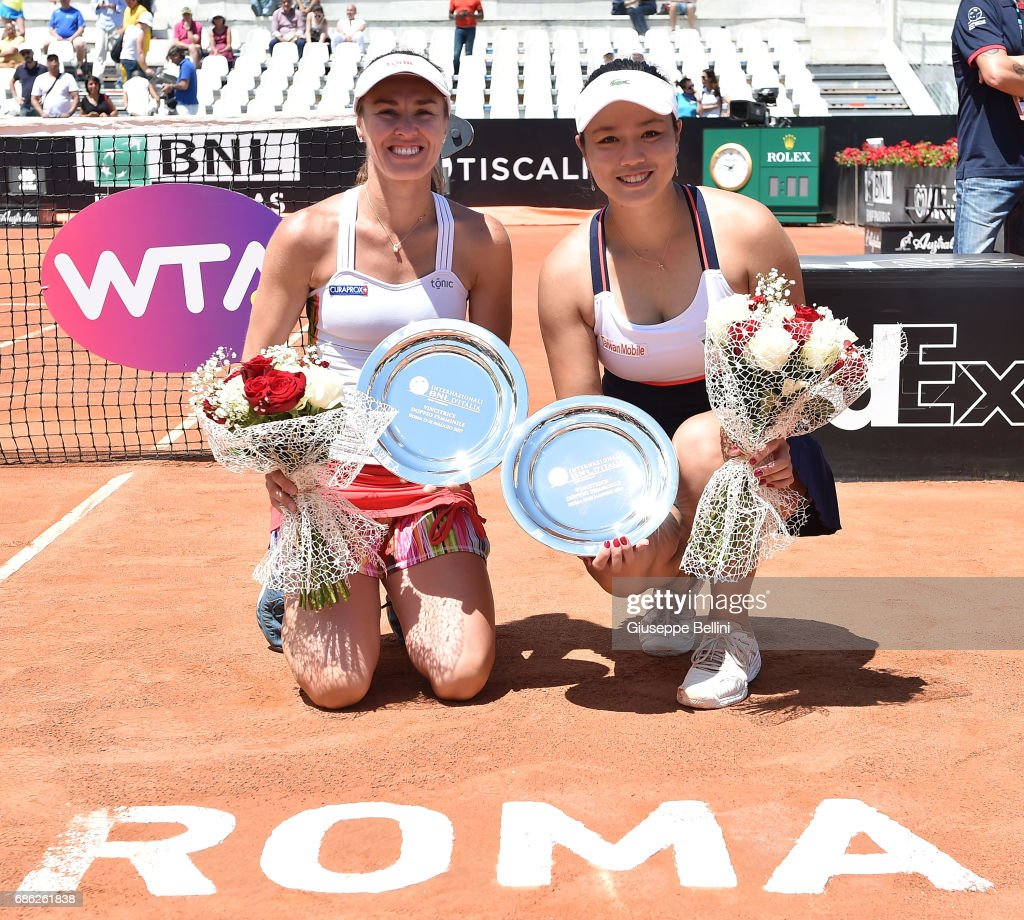 Yung-Jan Chan of Taiwan and Martina Hingis of Switzerland celebrate the victory after the WTA Doubles Final match between Yung-Jan Chan of Taiwan and Martina Hingis of Switzerlandand and Ekaterina Makarova of Russia and Elena Vesnina of Russia during The Internazionali BNL d'Italia 2017 - Day Eight at Foro Italico on May 21, 2017 in Rome, Italy.