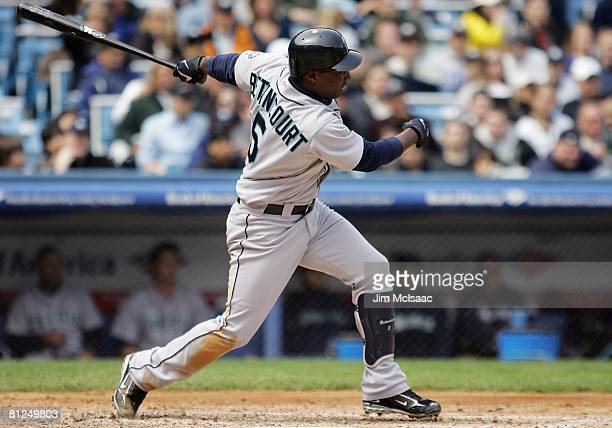 Yuniesky Betancourt of the Seattle Mariners bats against the New York Yankees on May 3 2008 at Yankee Stadium in the Bronx borough of New York City...