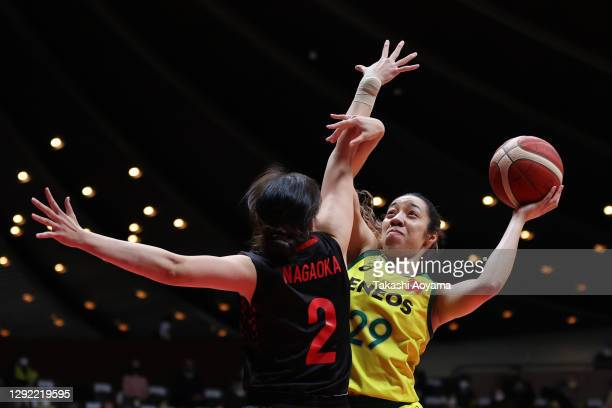 Yunika Nakamura of ENEOS Sunflowers drives to the basket against Moeko Nagaoka of Toyota Antelopes during the 87th Basketball Empress's Cup final...