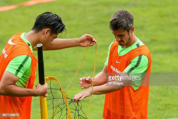 Yuning Zhang of Werder Bremen and Fin Bartels of Werder Bremen looks on during the Training Camp of SV Werder Bremen on July 13 2017 in Zell am...
