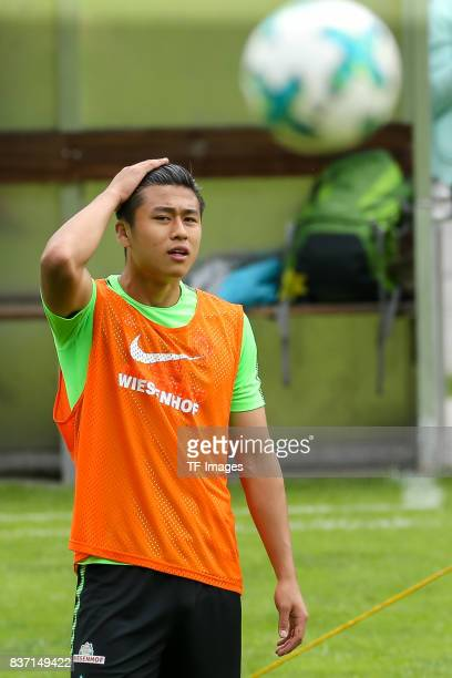 Yuning Zhang of Werder Bremen looks om during the Training Camp of SV Werder Bremen on July 13 2017 in Zell am Ziller Austria