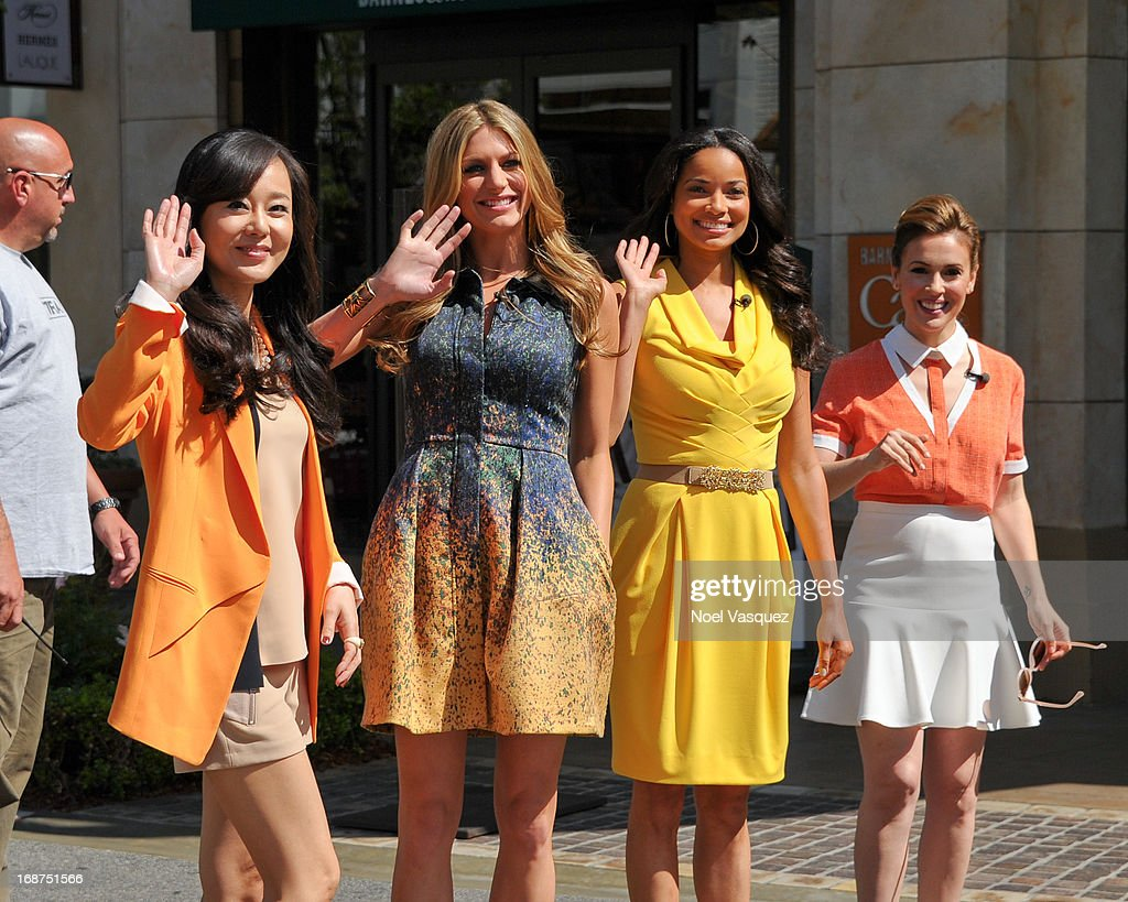 Yunjin Kim, Jes Macallan, Rochelle Aytes and Alyssa Milano are sighted at The Grove on May 14, 2013 in Los Angeles, California.