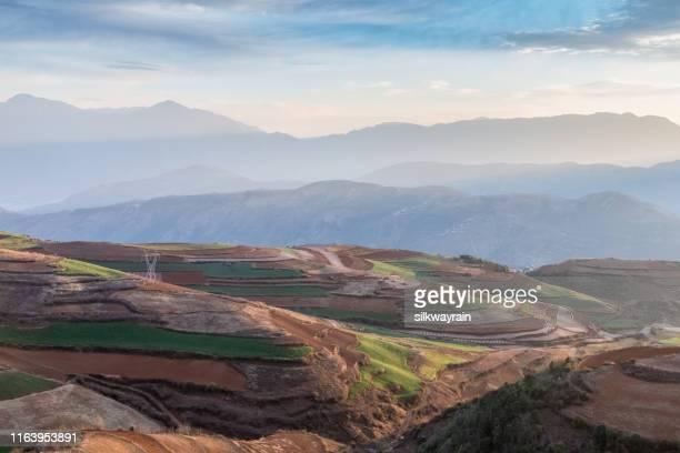 yunnan red land in early morning - kunming stock pictures, royalty-free photos & images