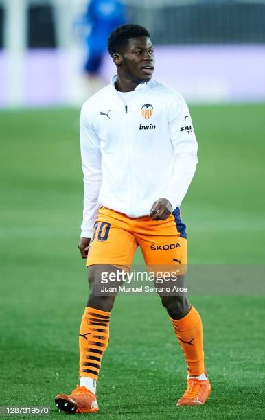 Yunus Dimoara Musah of Valencia CF reacts during the LaLiga Santander match between Alaves and Valencia on November 22, 2020 in Vitoria-Gasteiz,...