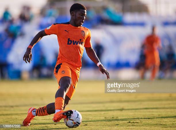 Yunus Dimoara Musah of Valencia in action during the pre-season friendly match between Levante and Valencia at Pinatar Arena on August 29, 2020 in...