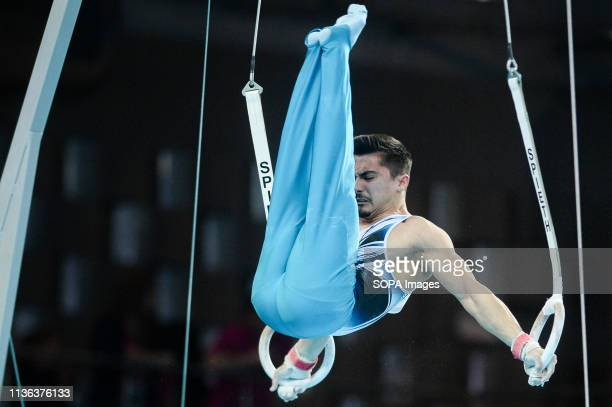 Yunus Gundogdu from Turkey seen in action on the rings during the men qualifications of 8th European Championships in Artistic Gymnastics
